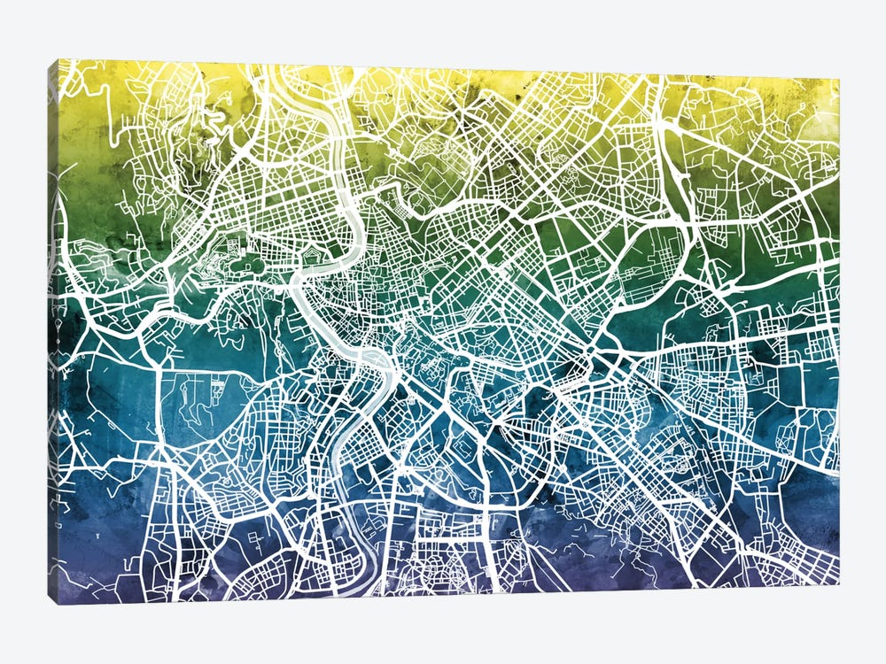 Color Gradient Urban Street Map Series: Rome, Italy by Michael Tompsett 1-piece Canvas Art