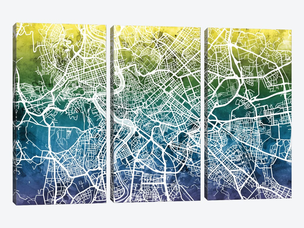 Color Gradient Urban Street Map Series: Rome, Italy 3-piece Canvas Art