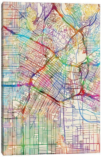 Urban Rainbow Street Map Series: Los Angeles, California, USA Canvas Print #MTO440