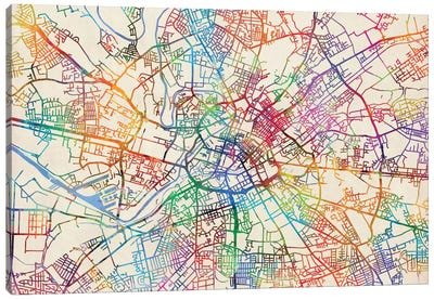 Urban Rainbow Street Map Series: Manchester, England, United Kingdom Canvas Print #MTO441