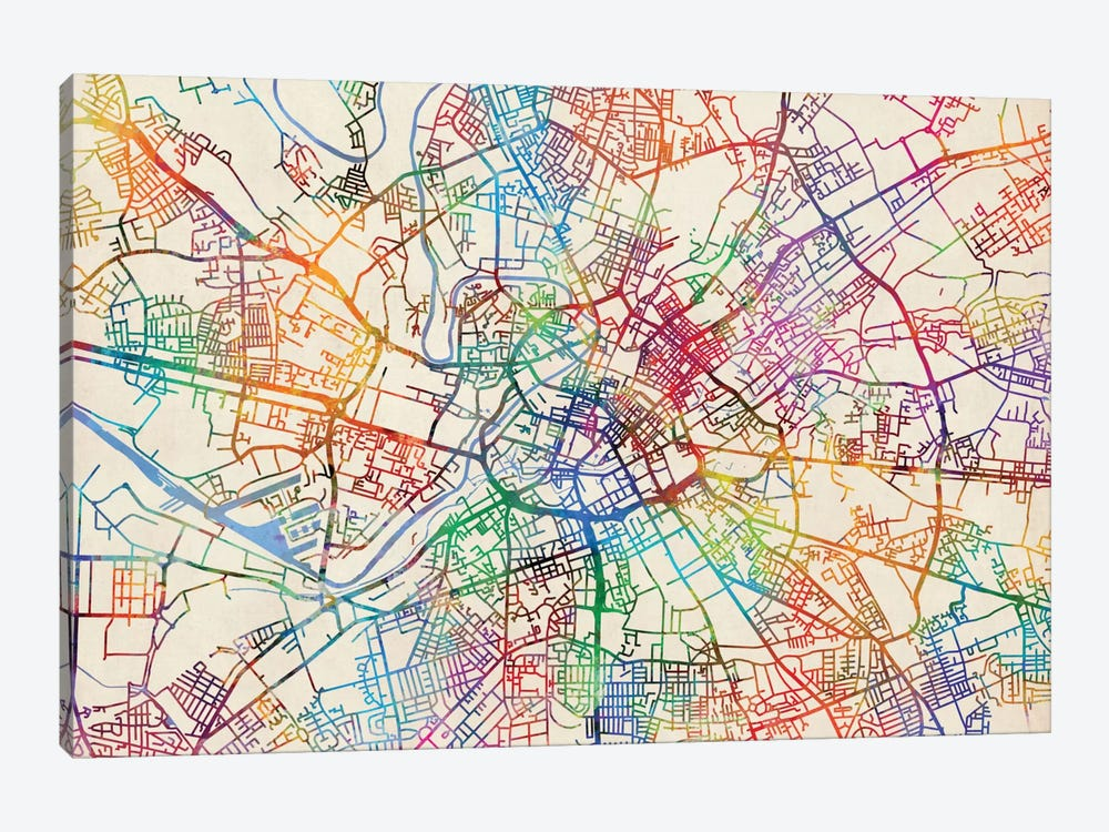 Urban Rainbow Street Map Series: Manchester, England, United Kingdom by Michael Tompsett 1-piece Canvas Art Print