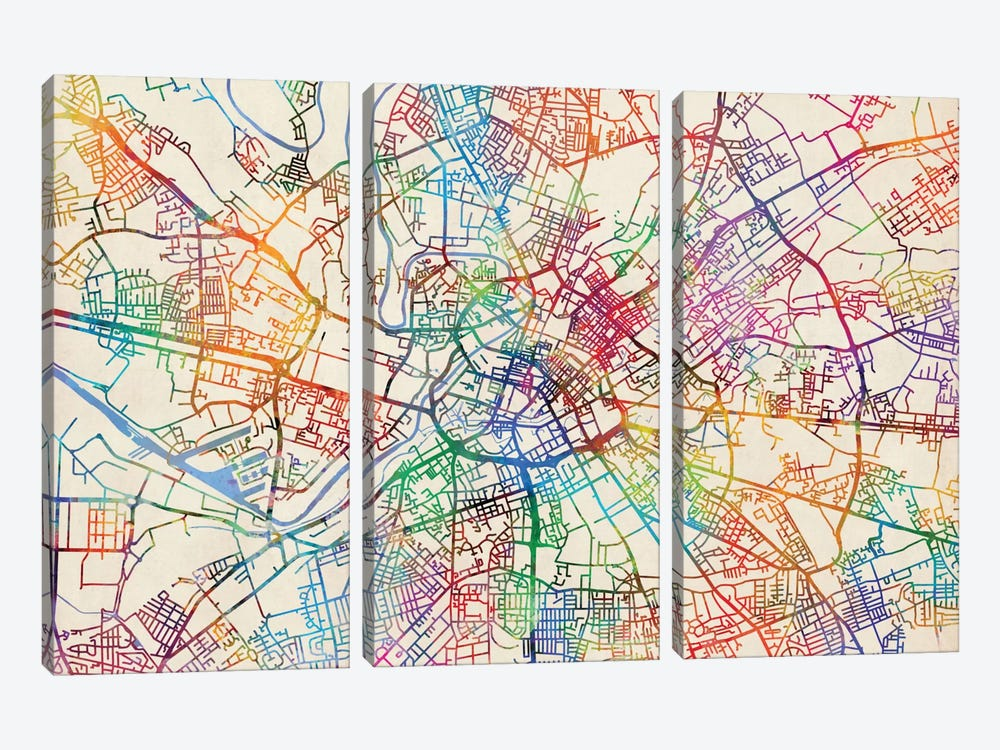 Urban Rainbow Street Map Series: Manchester, England, United Kingdom by Michael Tompsett 3-piece Canvas Art Print