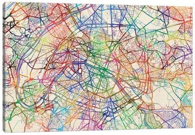 Urban Rainbow Street Map Series: Paris, France Canvas Print #MTO444