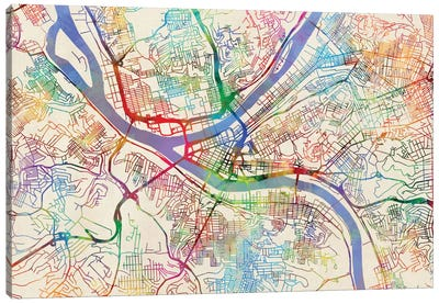 Urban Rainbow Street Map Series: Pittsburgh, Pennsylvania, USA Canvas Art Print
