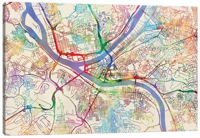 Urban Rainbow Street Map Series: Pittsburgh, Pennsylvania, USA Canvas Print #MTO446
