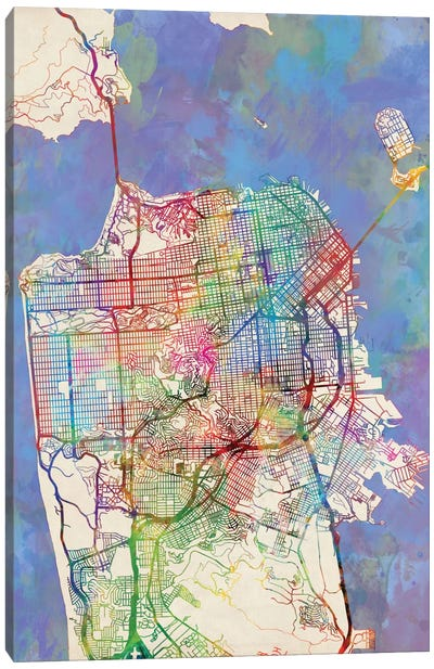 Urban Rainbow Street Map Series: San Francisco, California, USA Canvas Print #MTO448