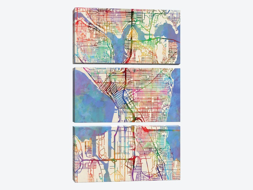 Seattle, Washington, USA by Michael Tompsett 3-piece Canvas Print
