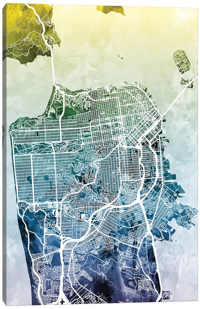 Color Gradient Urban Street Map Series: San Francisco, California, USA Canvas Print #MTO44