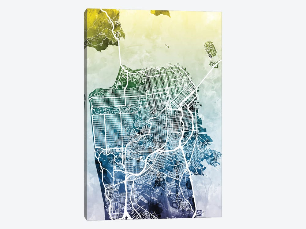 Color Gradient Urban Street Map Series: San Francisco, California, USA by Michael Tompsett 1-piece Canvas Print