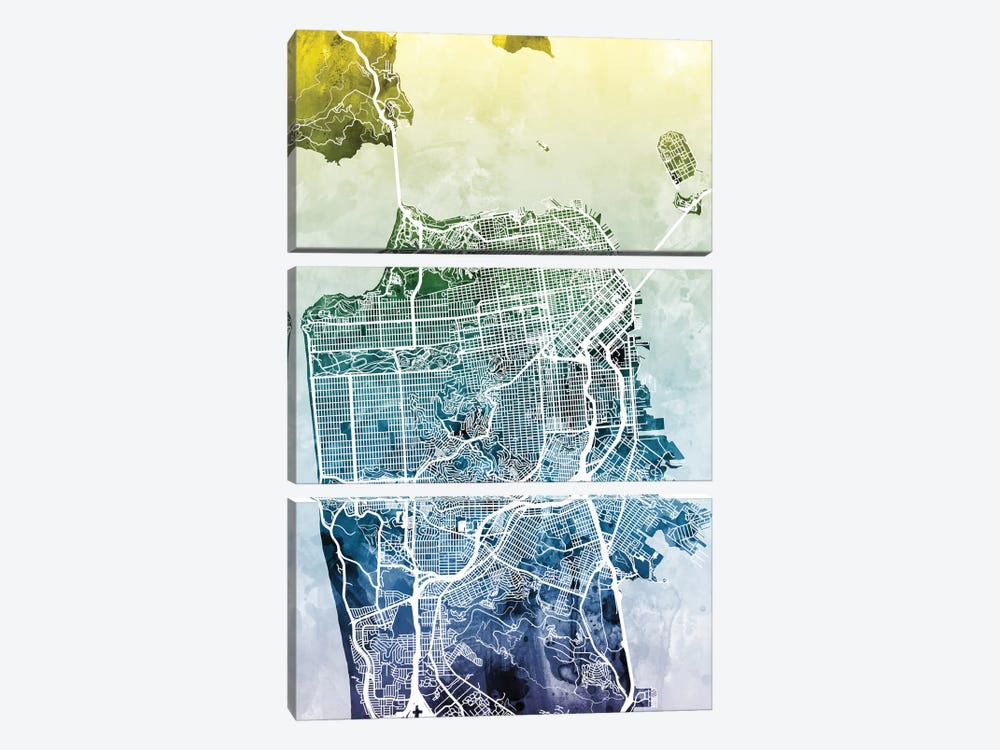 Color Gradient Urban Street Map Series: San Francisco, California, USA by Michael Tompsett 3-piece Canvas Print