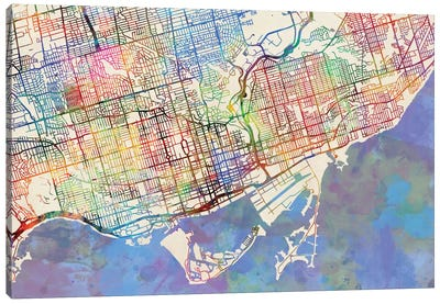 Urban Rainbow Street Map Series: Toronto, Canada Canvas Print #MTO450