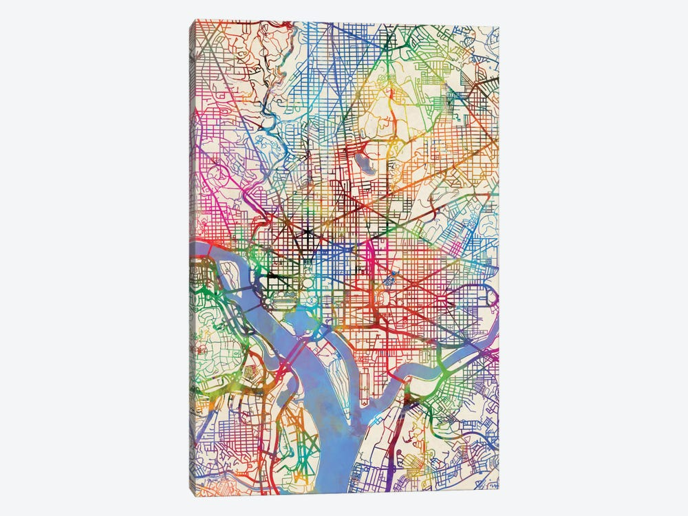 Urban Rainbow Street Map Series: Washington, D.C., USA by Michael Tompsett 1-piece Canvas Print