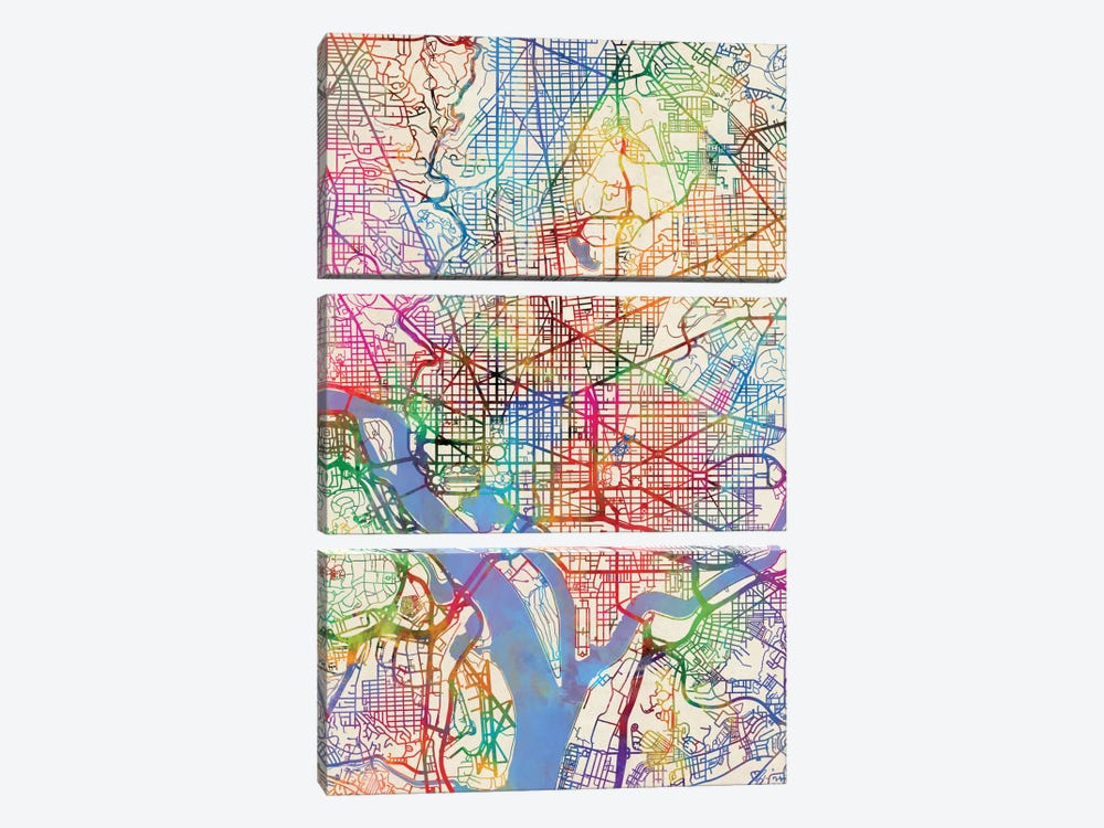 Urban Rainbow Street Map Series: Washington, D.C., USA by Michael Tompsett 3-piece Art Print