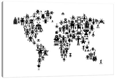 World Map Series: Black & White Robots Canvas Print #MTO453