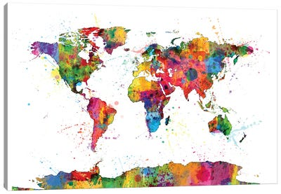 World Map Series: Drops of Color I Canvas Print #MTO454