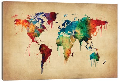 World Map Series: Dripping Effect II Canvas Print #MTO456