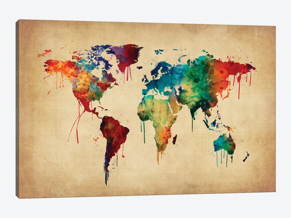 World Map Series: Dripping Effect II by Michael Tompsett 1-piece Canvas Print