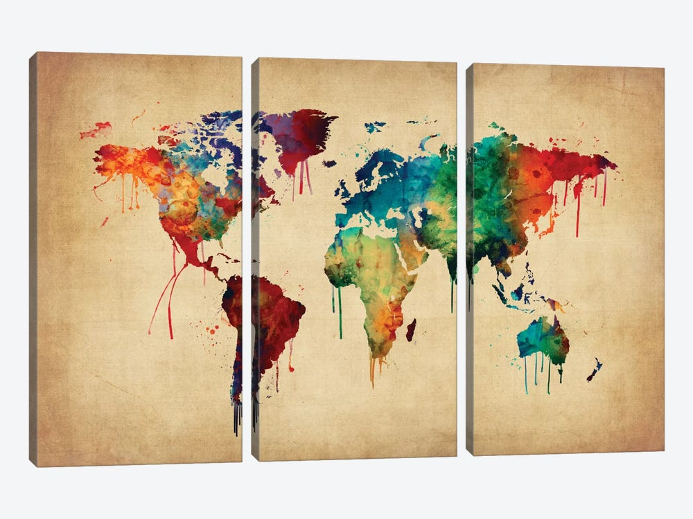 World Map Series: Dripping Effect II by Michael Tompsett 3-piece Canvas Print