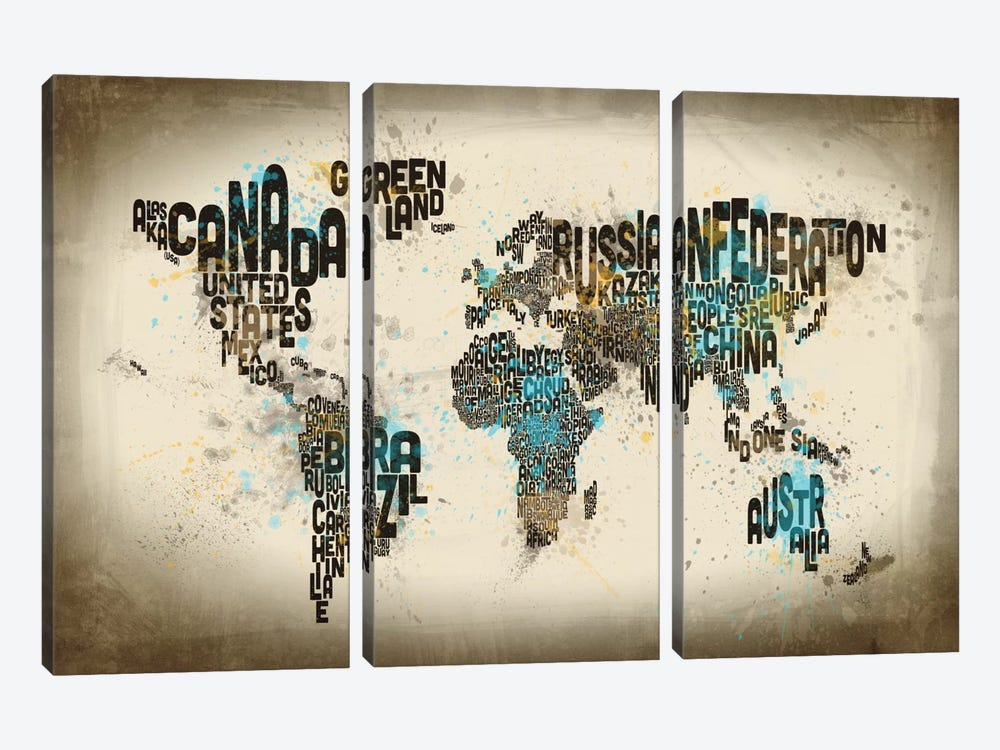 World Map Series: Drops Of Typography by Michael Tompsett 3-piece Canvas Artwork