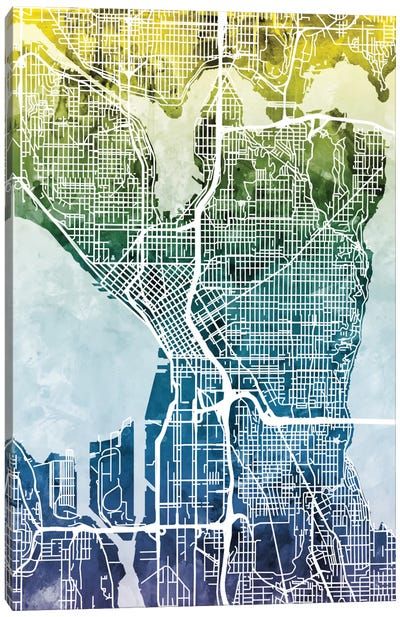 Color Gradient Urban Street Map Series: Seattle, Washington, USA Canvas Print #MTO45