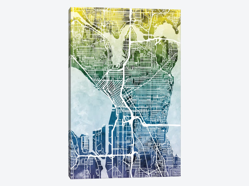 Color Gradient Urban Street Map Series: Seattle, Washington, USA by Michael Tompsett 1-piece Canvas Wall Art