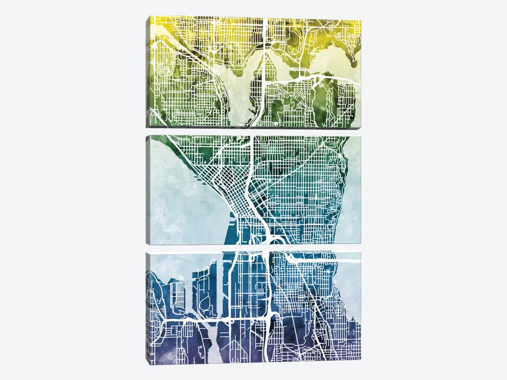 Color Gradient Urban Street Map Series: Seattle, Washington, USA by Michael Tompsett 3-piece Canvas Art