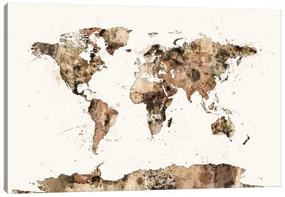 World Map Series: Earthly Tones Canvas Print #MTO460