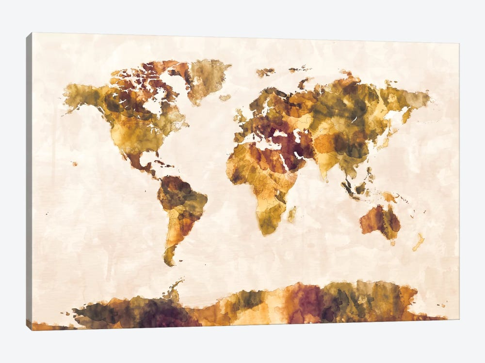 World Map Series: Foxed Retro by Michael Tompsett 1-piece Canvas Print