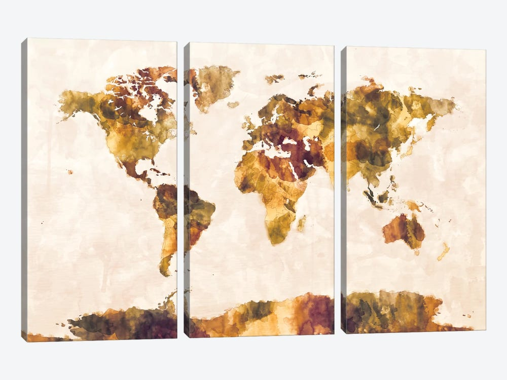 World Map Series: Foxed Retro by Michael Tompsett 3-piece Art Print