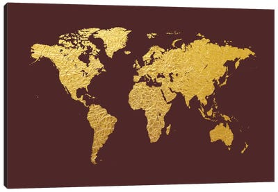 World Map Series: Gold Foil On Cordovan Canvas Art Print