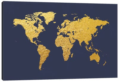 World Map Series: Gold Foil On Denim Canvas Art Print