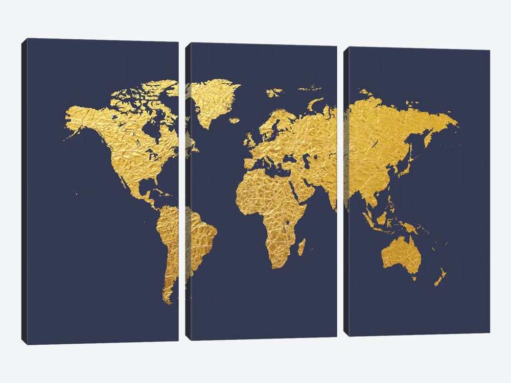 Gold Foil On Denim by Michael Tompsett 3-piece Canvas Print