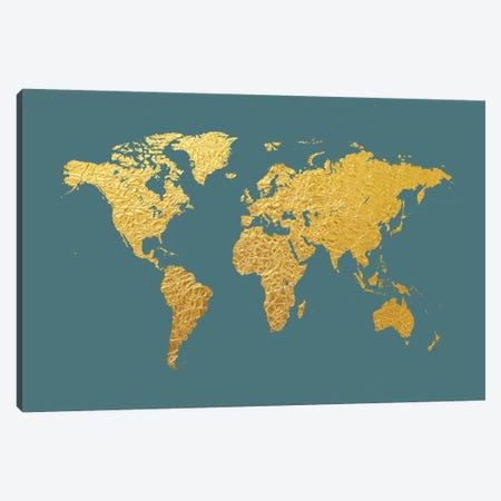 Gold Foil On Ocean Blue Canvas Print #MTO464} by Michael Tompsett Canvas Artwork