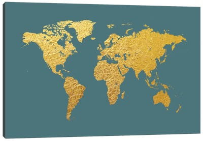 World Map Series: Gold Foil On Ocean Blue Canvas Print #MTO464