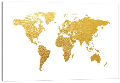 World Map Series: Gold Foil On White Canvas Print #MTO465