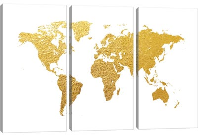 Gold Foil On White Canvas Art Print
