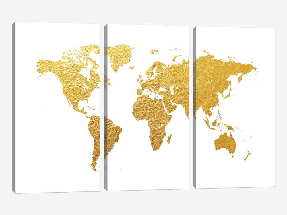 Gold Foil On White by Michael Tompsett 3-piece Art Print