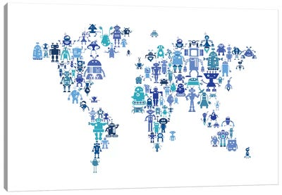 World Map Series: Hues Of Blue Robots Canvas Print #MTO466