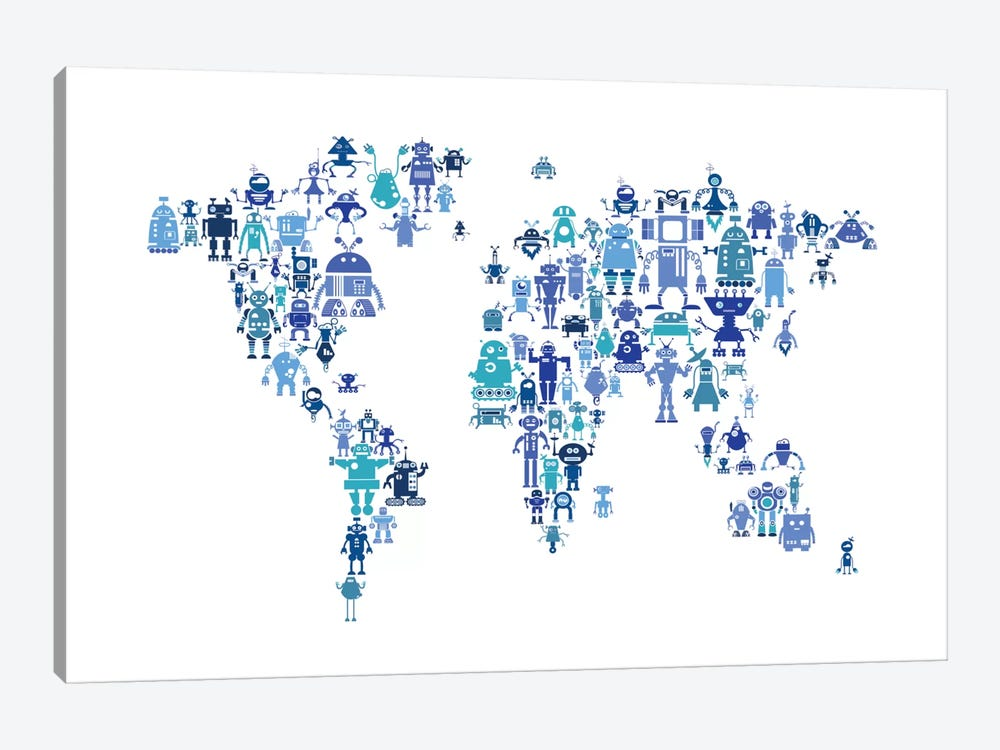 World Map Series: Hues Of Blue Robots by Michael Tompsett 1-piece Canvas Artwork