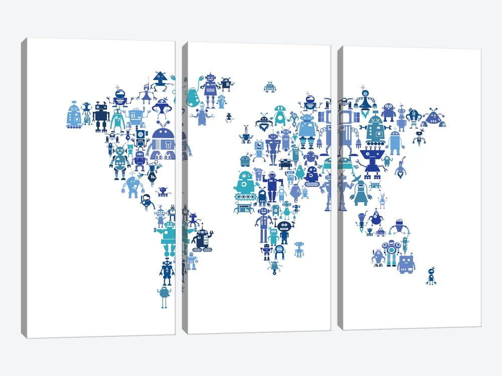 World Map Series: Hues Of Blue Robots by Michael Tompsett 3-piece Canvas Wall Art