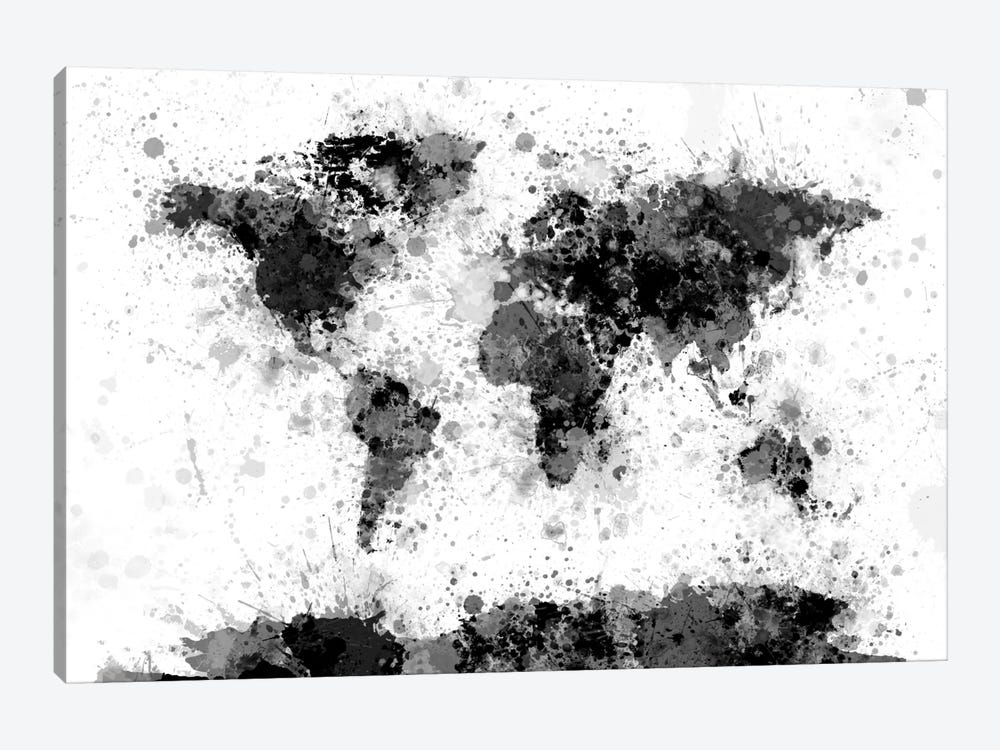 World Map Series: Ink Blot by Michael Tompsett 1-piece Canvas Art Print