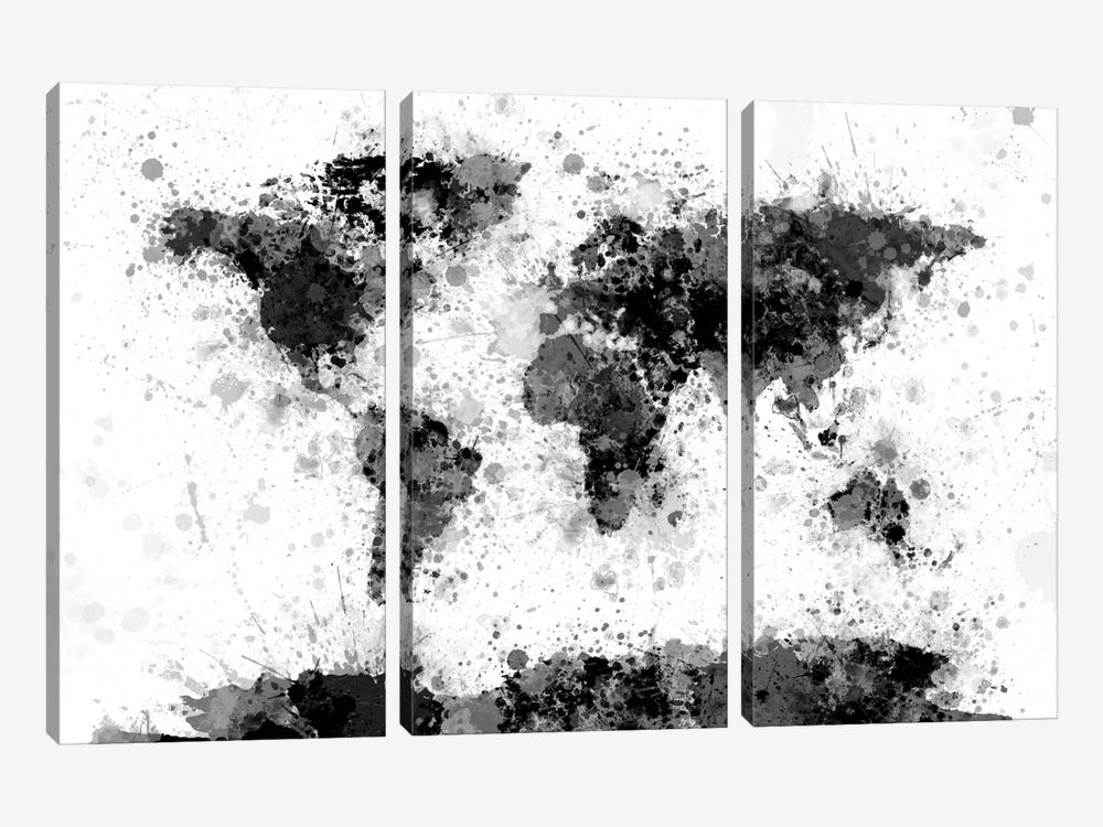 World Map Series: Ink Blot by Michael Tompsett 3-piece Art Print