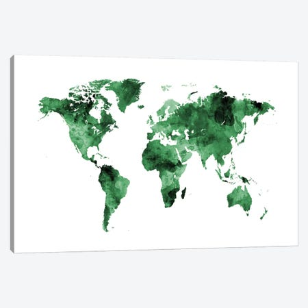 Shades Of Green (w/o Antarctica) Canvas Print #MTO469} by Michael Tompsett Art Print