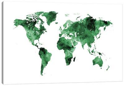 World Map Series: Shades Of Green (w/o Antarctica) Canvas Print #MTO469