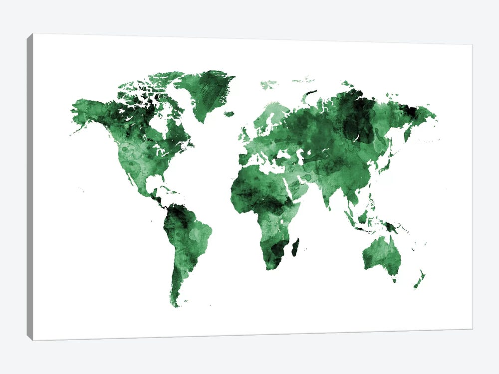 Shades Of Green (w/o Antarctica) by Michael Tompsett 1-piece Art Print