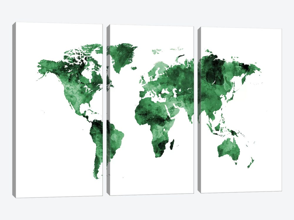 Shades Of Green (w/o Antarctica) by Michael Tompsett 3-piece Art Print