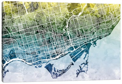 Color Gradient Urban Street Map Series: Toronto, Canada Canvas Print #MTO46