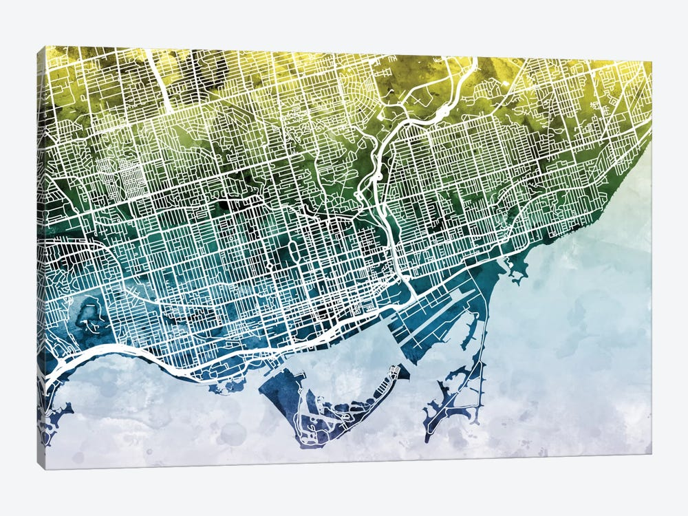 Color Gradient Urban Street Map Series: Toronto, Canada by Michael Tompsett 1-piece Canvas Art Print
