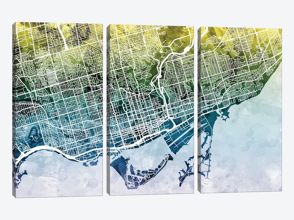 Color Gradient Urban Street Map Series: Toronto, Canada by Michael Tompsett 3-piece Canvas Art Print