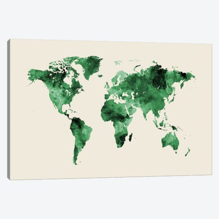 Shades Of Green On Beige (w/o Antarctica) Canvas Print #MTO470} by Michael Tompsett Canvas Artwork